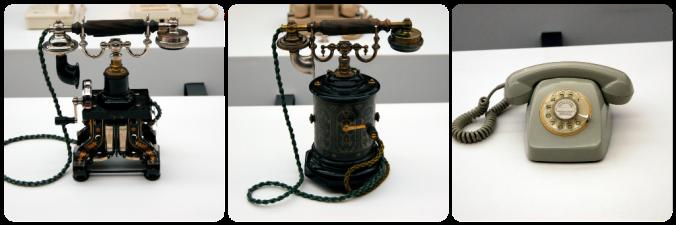 Alguns dos telefones expostos: os 2 mais antigos e o mítico telefone de disco que todos tivemos!